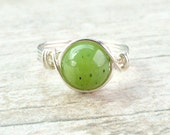Jade ring - handmade ring - wire wrapped ring
