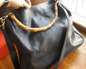 Gucci black leather bag with bamboo handles vtg