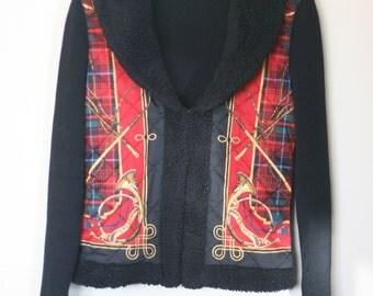 vintage lauren sweater with fleece collar size M