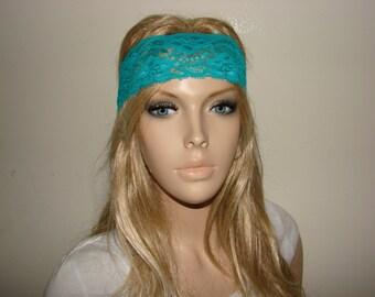 teal lace headband, aqua yoga headband, blue bandana headband, Bohemian Headband, boho flower lace headband Woman Teen Adult