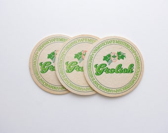 Vintage Grolsch Beer Coasters - Set of 3 - Vintage Beer Advertising, Vintage Bar