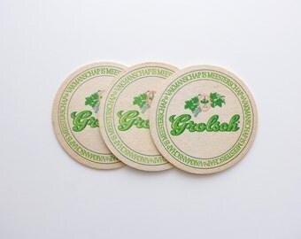 Vintage Grolsch Beer Coasters - Set of 3 - Vintage Beer Advertising, Vintage Bar