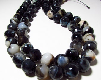 Botswana Black White Brown Lace Agate Faceted Round Ball Beads 11mm - 12mm