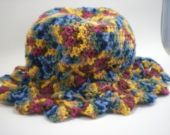 Multicolored Crocheted Hat With Fancy Brim