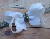 White boutique bow on silver glitter headband - white baby headband, white & silver headband, silver headband, Christmas headband