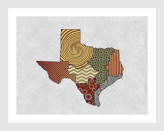 texas map art print texas wall decor home decor texas by iqstudio. Black Bedroom Furniture Sets. Home Design Ideas