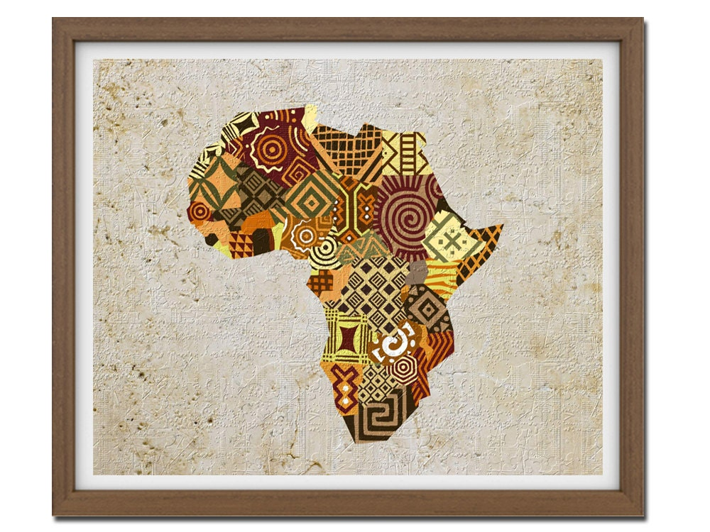 African map art african print map decor african wall art for African mural painting