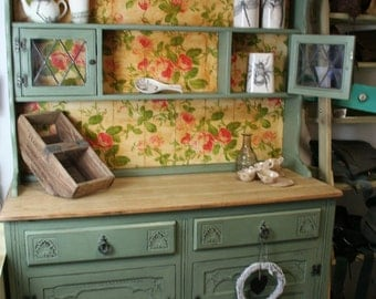 Sage Green Kitchen Dresser, Sideboard, Cabinet, Welsh Dresser, Decoupaged