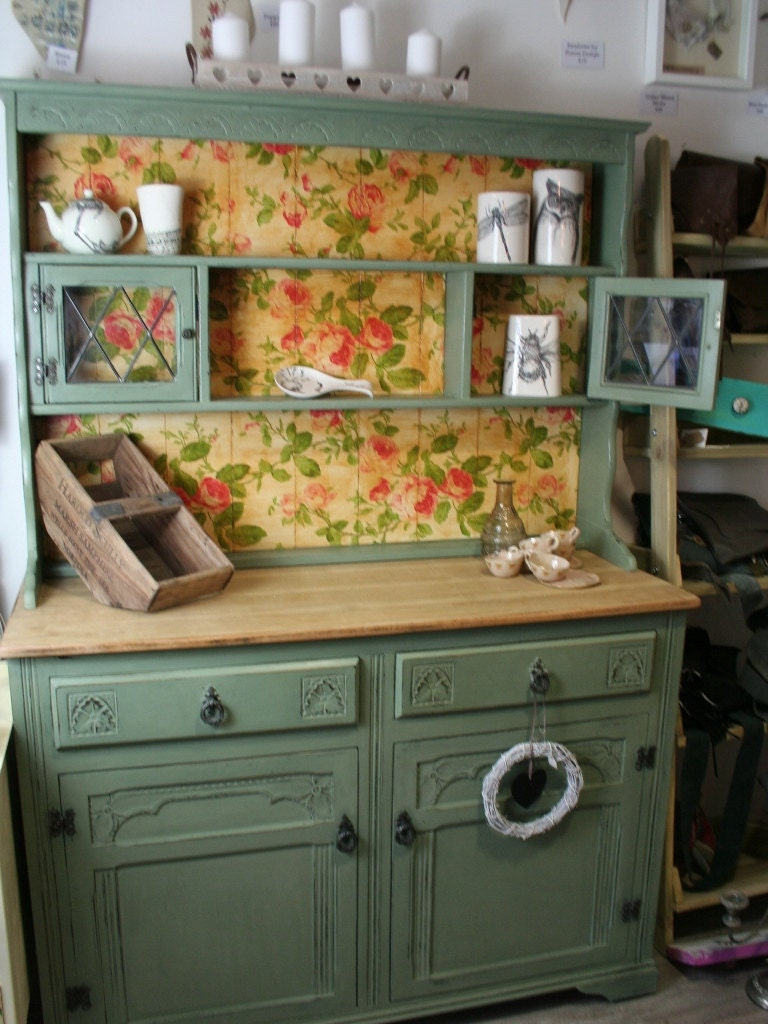 Sage Green Kitchen Dresser Sideboard Cabinet Welsh Dresser