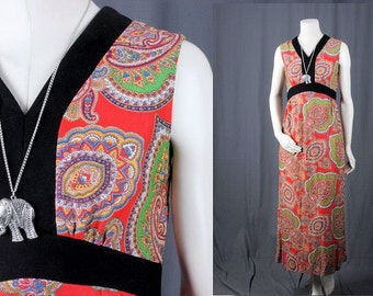 Vintage Maxi dress red paisley FLoral black 70s flower power women size S small