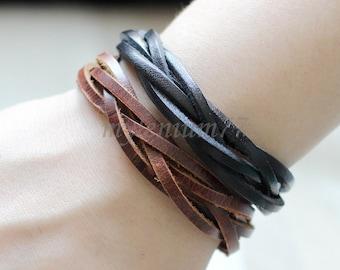182 Men's leather bracelets Set of 2: 1 black and 1 brown Leather bands bracelet Leather cords bracelet Woven bracelet For men and women