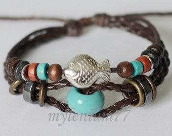 068 Men bracelet Women bracelet Fish bracelet Beads bracelet Leather bracelet Braided bracelet Woven bracelet Fashion bracelet