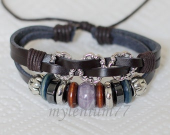 626 Women's brown leather bracelet Beads bracelet Charm bracelet Rings bracelet Ropes bracelet Fashion leather jewelry For women and girls
