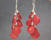 Smooth red coral drop earrings Modglam 121