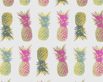 Pineapple Print Tropical Poster Fruit kitchen Pattern Grey Gray Design Bright Colorful Colourful Geometric Pink Yellow Pineapple Decor Gift
