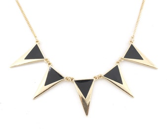 Simple Beautiful Gold-tone Black Triangle/Pyramid Funky Statement Necklace,A11