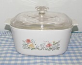 RARE Corning 'Autumn Meadow' 3L Casserole w/Lid, A-3-B, Imoco Direct Mail Order Only 1984 & 1985, Cook Serve and Store