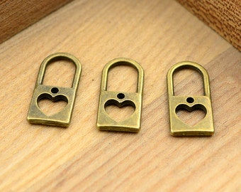 High Quality--10pcs 26x12x2.2mm Antiqued Vintage Bronze Heart Charm Pendant,Holiday Charm, Pendant