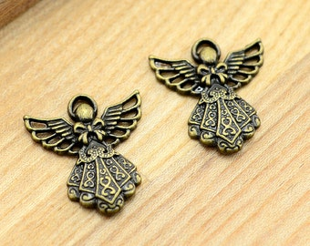 10pcs High Quality--Antiqued Vintage Bronze Angel Charm Pendant,Holiday Charm, Pendant