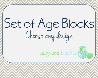 Baby Month Age Blocks - Weeks Months Years Grade - Choose your own design