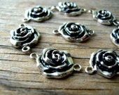 Silver Rose Connectors - Flower Charms - Silver Tone Connectors - Jewelry Findings - Rose Charms - Flower Connectors - Valentines Day