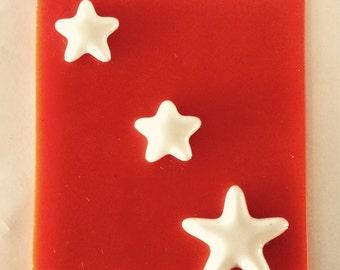 3 STARS NIGHT LIGHT Orange & White - Glass Nightlight Star Decoration