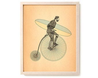 "Surf Bicycle Art Print ""Penny Farthing"""