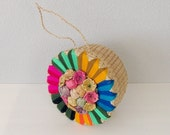 Vintage Straw Tote Bag, Straw Bag, Straw Purse, 1950s Purse, Yarn Bag, Hat Box Purse, Straw Carry Purse, Raffia Tote, Embroidered Bag
