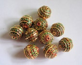 Meenakari round beads, enamel beads, Indian beads x 5, 12mm