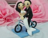 Bicycle cake topper wedding clay doll, Mermaid wedding anniversary clay miniature, ring holder clay figurine, AsiaWorld cake toppers
