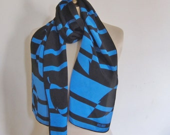 Long silk scarf, BILL BLASS vintage SILK scarf,. black and blue geometric scarf, 80s long scarf, vintage scarves