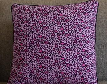 "Cheetah Print Pillow in Hot Pink and Black - ""Charming Cheetah"""