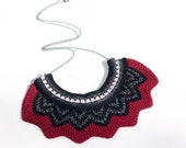 Knitted Chevron Necklace - Wine Red, Black, Charcoal Grey and Off White