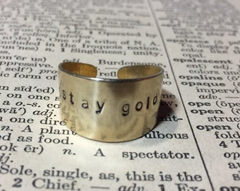 Stay Gold Arrow Hand Stamped Brass Ring
