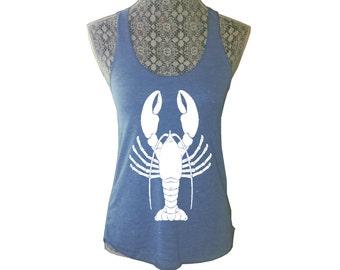 Womens Summer Nautical Beach LOBSTER Print Tri Blend Tank Top American Alternative Apparel Gray Black S M L XL