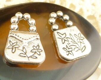 Antiqued Silver Tone Flower Purse Charm Pendant (6) - S81