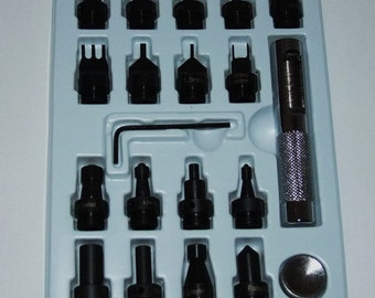 20 Piece Deluxe Interchangeable Leather Tool Kit Hole Punches Etc.