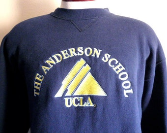 Go Bruins vintage 90's UCLA University of California Los Angeles  The Anderson School of Business graphic sweatshirt embroidered logo navy b