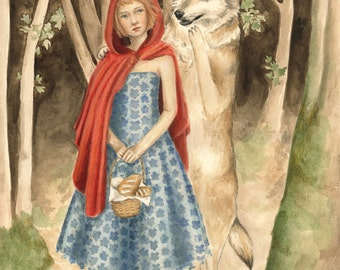 Red, or Little Red Riding Hood and the Wolf Print 8x10 - illustration, fairytale, Brothers Grimm, children's art, nursery, painting, surreal