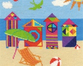 Bright Beach Huts Cross Stitch Kit By DMC Using 14 Count Size 20cm Square