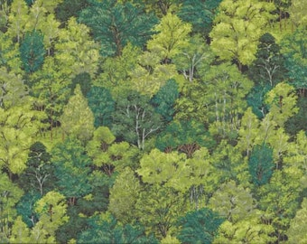 Fat Quarter Green Forest Woodland Trees 100% Cotton Quilting Fabric Makower 1353