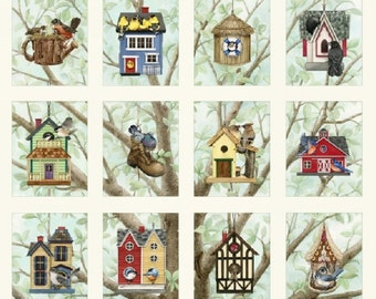 Beautiful Birds Houses Boom Cotton Quilting Fabric 12 Panels Elizabeths Studio