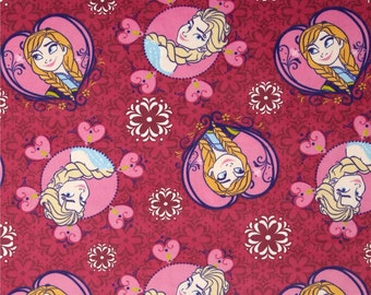 Fat Quarter Frozen Sisters Framed Toss Pink Polyester Minkie Fabric