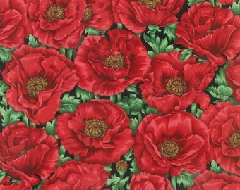 Fat Quarter Poppies Red Poppy Flowers Cotton Quilting Fabric Nutex 89030 102