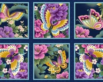 Butterfly Fantasy Magenta Printed Cotton Fabric Panel Kona Bay FANT 01 Magenta