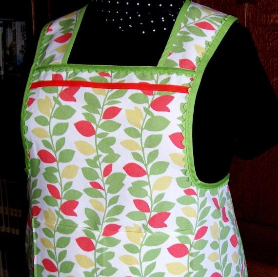 Retro Kitchen Aprons: Plus Size Retro Kitchen Apron Green And Orange Vines Size