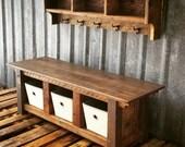 Reclaimed Barnwood Three Cubby Bench & Shelf Cubby Set
