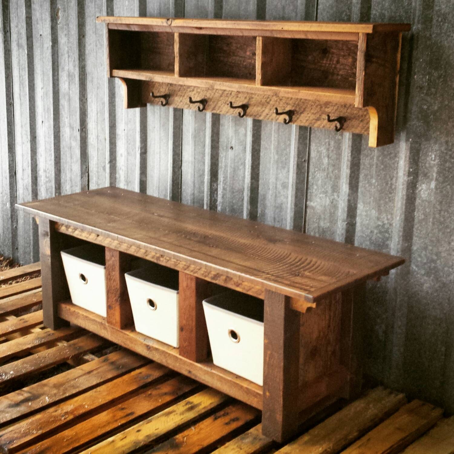 Reclaimed Barnwood Three Cubby Bench Shelf By Echopeakdesign