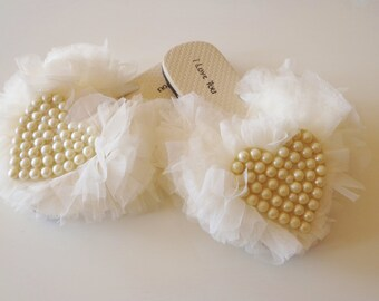 Wedding Slippers ,Flip Flop,Flat Slippers,Tulle,Pearl,Heart,Wedding Accessories.