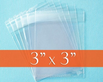 100 3 x 3 Inch Resealable Cello Bags, Clear Cellophane Plastic Packaging, Acid Free